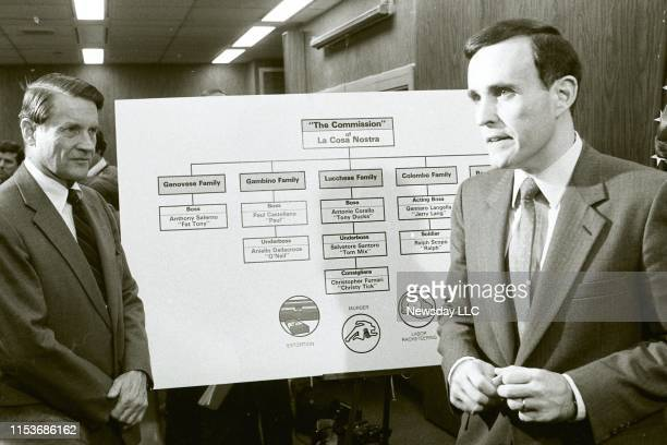 FBI director William Webster and Rudolph Giuliani US Attorney for the Southern District of New York with a crime family chart during a press...
