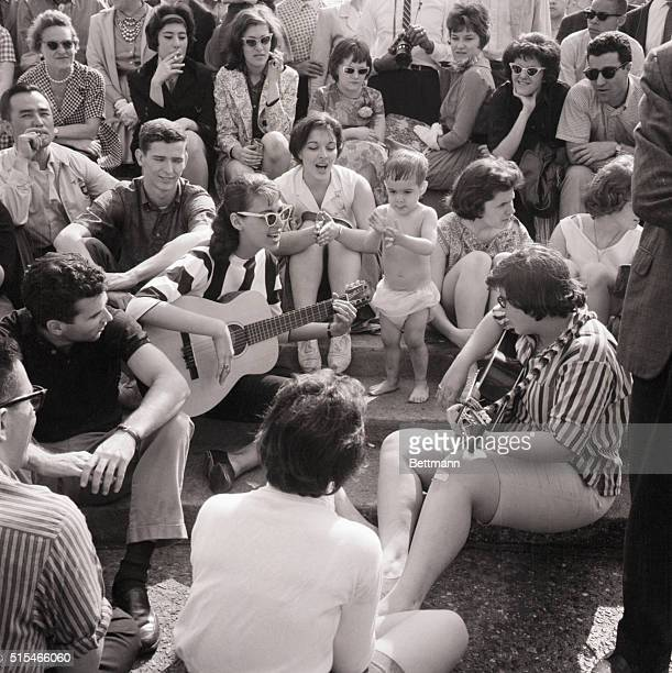Folk musicians playing in Washington Square Park Photo May 15 1961
