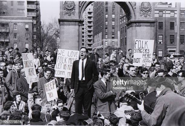 Folklorist Israel Young leads a protest against the banning of folk music in Washington Square Park in Greenwich Village on April 9 1961