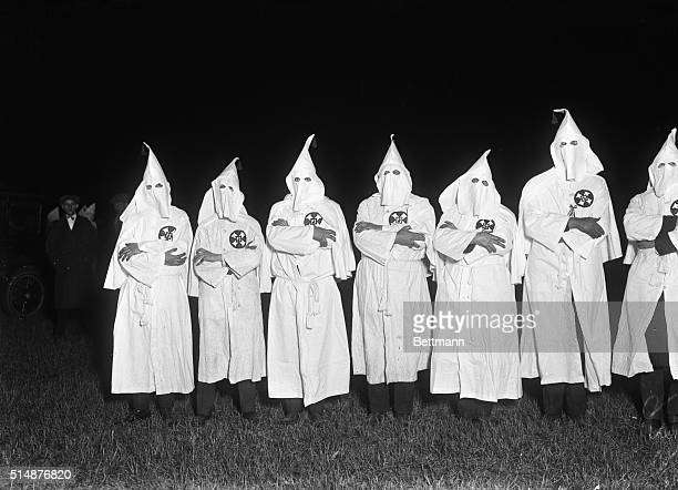 Group of hooded Ku Klux Klan members at Freeport Long Island Undated photo
