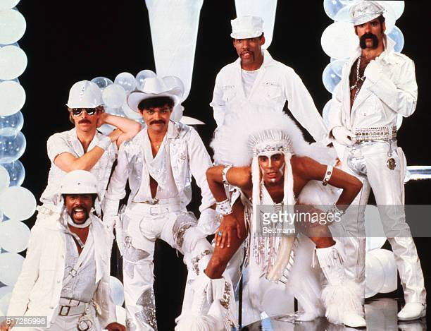 Group pose of the Village People in two scenes from the movie Can't Stop the Music including original group member Alexander Briley