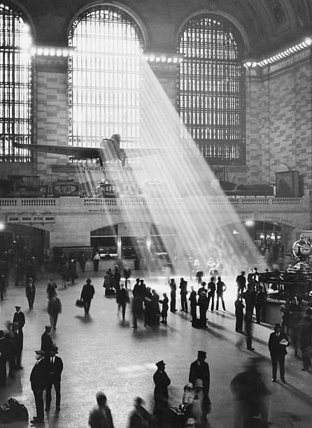 Sunbeams in Grand Central Terminal over the Bremen aircraft, the first to plane to complete a non-stop westward flight over the Atlantic ocean.