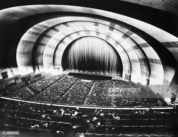 Interior of Radio City Music Hall looking toward stage area during the Chirstmas season