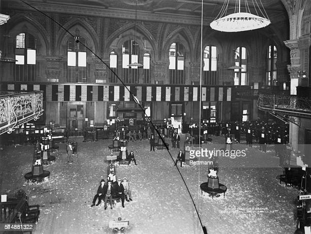 Interior of the New York Stock Exchange old building brokers sitting around Photograph 1895