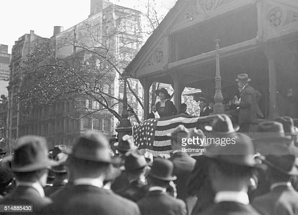 New York, NY: Jeanette Rankin , suffragist and congresswoman addressing mass meeting in Union Square, New York City. Photograph.