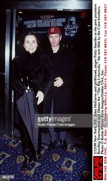 New York NY John McEnroe and girlfriend singer Patty Smythe at the post premiere Bowling Tournament and dinner for 'The Big Lebowski' the new film...