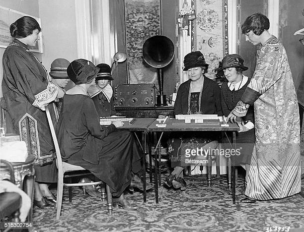 Mah Jongg the craze of the Twenties Society ladies are shown taking their daily MahJong lesson by Radiomat at the WaldorfAstoria Photograph ca 1920s