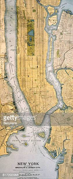 Map of New York City with portions of Brooklyn and Jersey City Color engraving published by the MatthewsNorthrup Co