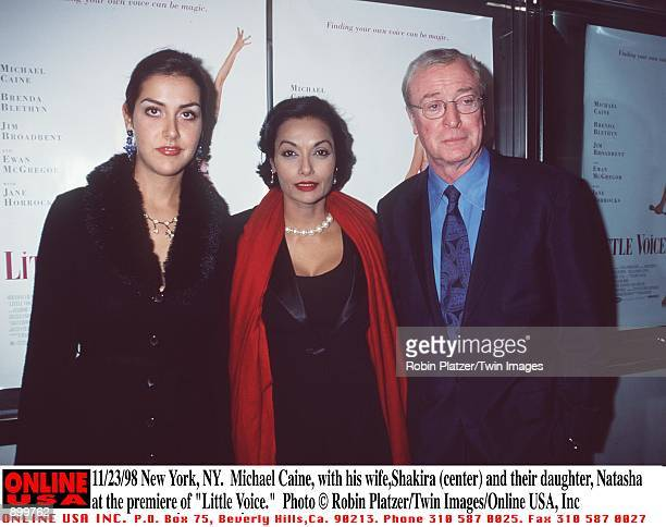 "New York, NY. Michael Caine with his wife, Shakira Baksh and their daughter, Natasha at the New York premiere of his new movie, ""Little Voice."""