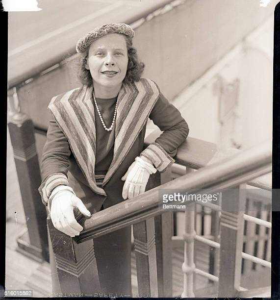 9/9/1936 New York NY Miss Ruth Gordon actress was among those sailing for Europe from New York Sept 9 aboard the liner Queen Mary She is shown...