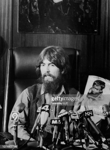 Musician George Harrison speaks at a press conference in Manhattan on July 27, 1971. The former Beatle announced a benefit concert at Madison Square...