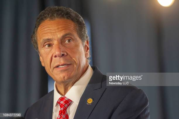New York State Governor Andrew Cuomo speaks about the new Moynihan Train Hall construction progress on September 6 2018 in New York