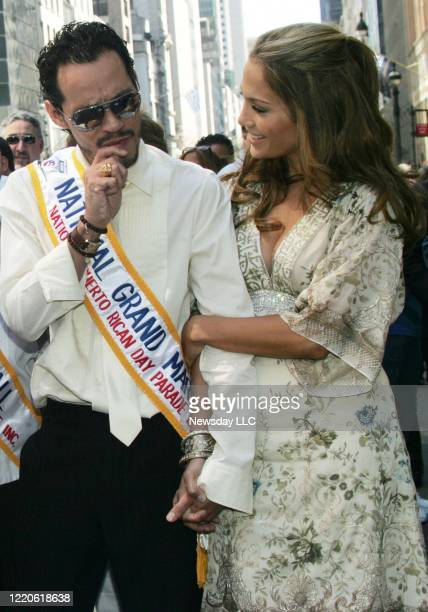 On June 11 singer Marc Anthony Grand Marshall of the National Puerto Rican Day Parade and his wife Jennifer Lopez on Fifth Avenue in Manhattan
