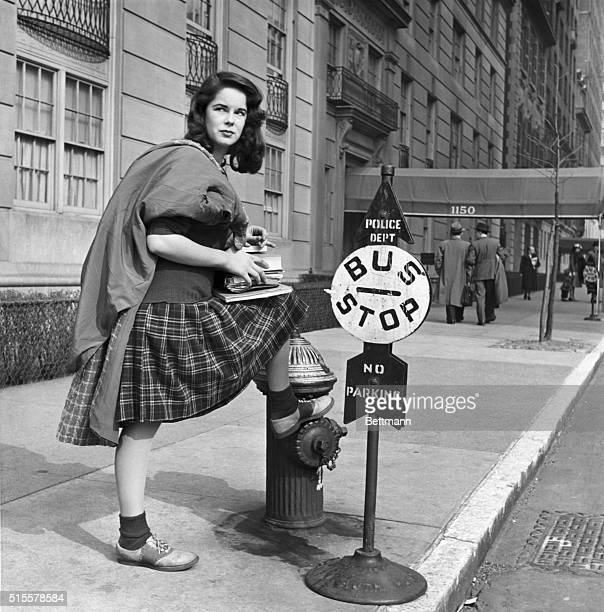 Oona O'Neill when she was 16 years old and a student in New York waiting for a bus at Madison Avenue Photograph