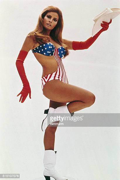 "New York, NY - ORIGINAL CAPTION READS: Racquel Welch, posed full length in star-spangled bathing suit for the film ""Myra Breckinridge."""