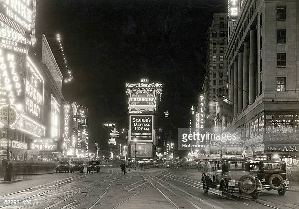 Photo of Times Square and its neon lights in New York City Ca 1910