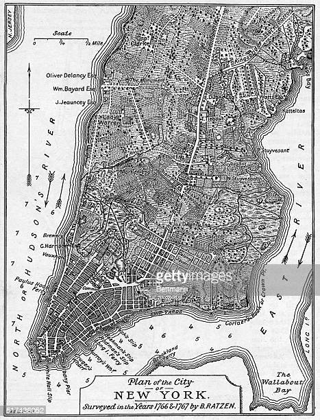 Plan of the City of New York showing the tip of Manhattan demarcated by block with landmarks numbered Undated illustration