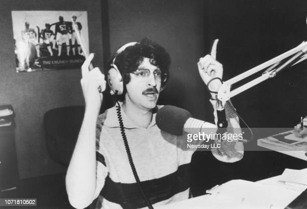 Radio disc jockey Howard Stern on air at WNBCAM radion station in New York City in this undated 1985 photograph