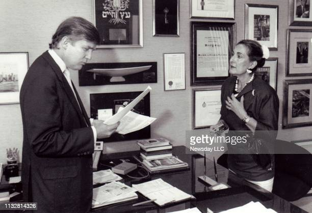 Real estate developer Donald Trump and his top personal aide Norma Foerderer at Trump's office in Trump Tower in Manhattan on August 16, 1989.