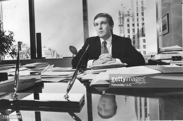 Real estate developer Donald Trump in his office at Trump Towers in Manhattan on April 4, 1985.