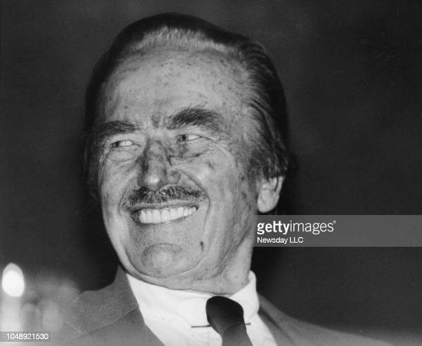 Real estate mogul Fred Trump Donald Trump's father at a press conference at the Grand Hyatt Hotel in Manhattan for the Mike TysonTyrell Biggs...