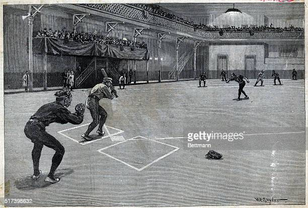 Sports ca 1890 A GAME OF BASEBALL IN THE THIRTEENTH ARMORY REGIMENT BROOKLYN BETWEEN MEMBERS OF THE REGIMENT'STRIKER OUT' Drawn by W P Snyder