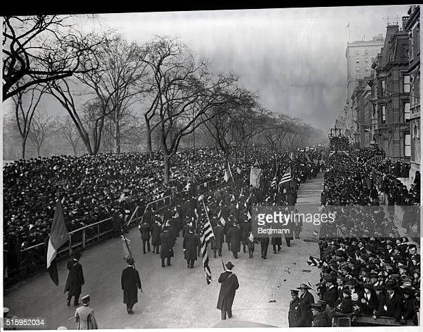 St Patrick's Day Parade New York passing the largest reviewing stand in the world Photograph ca 1910
