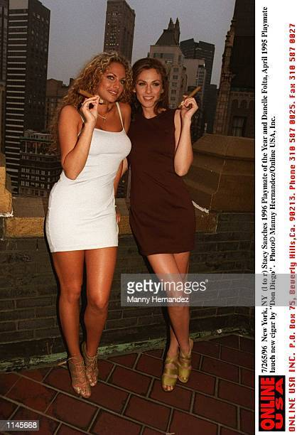 New York NY Stacy Sanches 1996 Playmate of the year and Danelle Folta Miss April 1995 playmate and Playboy magazine lauch new cigar by Don Diego