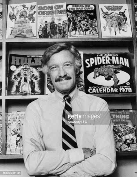 Stan Lee stands in front of some of the comic books that he has created at his office on Madison Avenue in Manhattan New York on May 24 1978