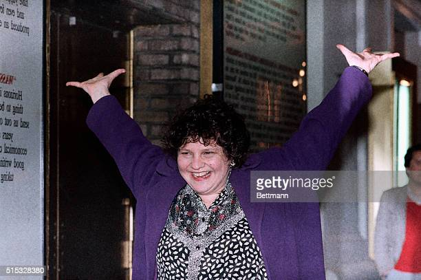 3/30/1989 New York NY Standing in front of the Plymouth Theatre where her comedy The Heidi Chronicles is playing playwright Wendy Wasserstein...
