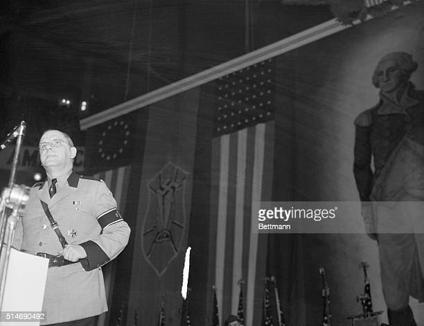 New York, NY: The local Fuehrer holds forth. Hewing to the verbal line and letting the syllables fall where they may, Fritz Kuhn, local Fuehrer,...