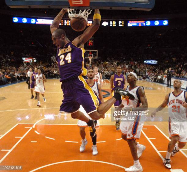 The Los Angeles Lakers guard Kobe Bryant dunks the ball against the Knicks in the second quarter at Madison Square Garden on Monday Feb 2 2009