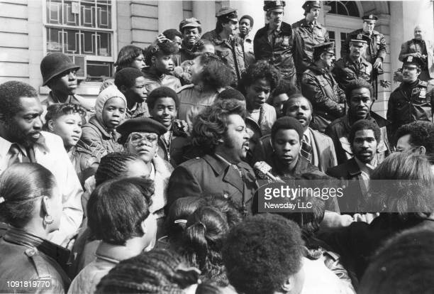 The Rev Al Sharpton president of the National Youth Movement with supporters at New York City Hall on February 22 1983 Former basketball star Earl...