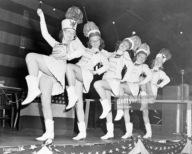 8/30/1947 New York NY The wolf howls shook the rafters when these dainty drum majorettes from Indianapolis took the stage during yesterday's American...