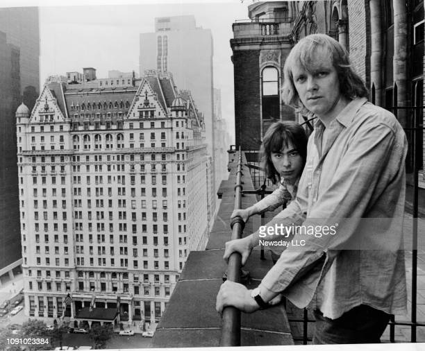 "Tim Rice and Andrew Lloyd Webber, creators of ""Jesus Christ Superstar,"" take in the view of Manhattan from the balcony of a building on Fifth Avenue..."
