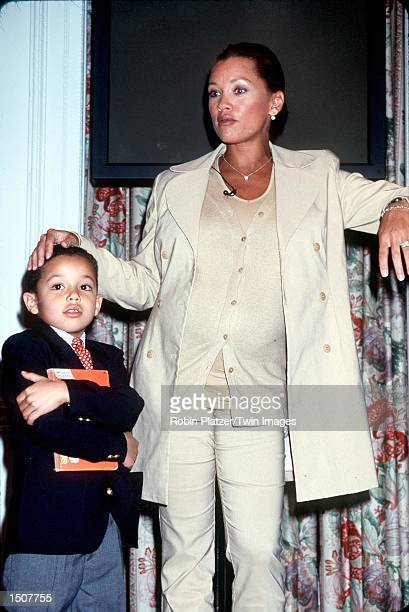 New York NY Vanessa Williams with her son Devin at the launch of Sesame Street Beginnings Language To Literacy project Photo by Robin Platzer/Twin...
