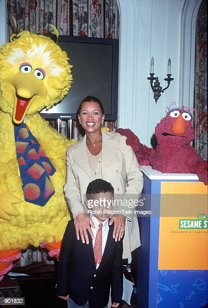 New York NY Vanessa Williams with her son Devin Big Bird and Telly Monster at the launch of 'Sesame Street Beginnings Language To Literacy' project...