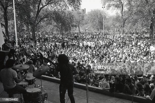 View from back of stage of the first East Coast Grateful Dead show at Tompkins Square Park in the East Village in Manhattan on June 1, 1967.