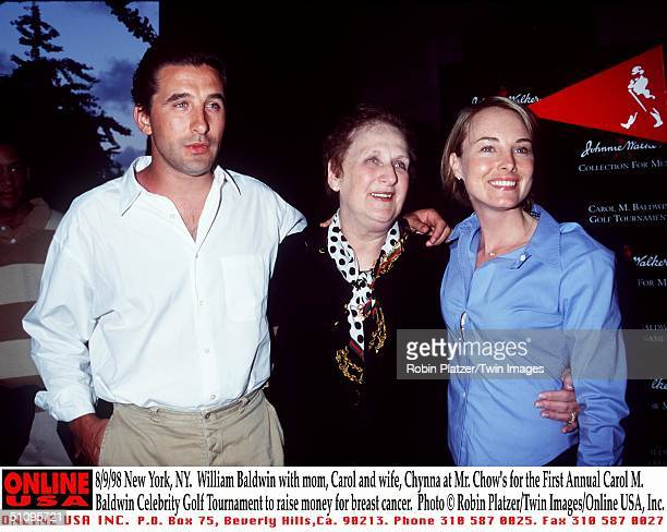 New York Ny William Baldwin With Mom Carol And Wife Chynna Phillips At Mr Chow's Restaurant For The First Annual Carol M Baldwin Celebrity Golf...