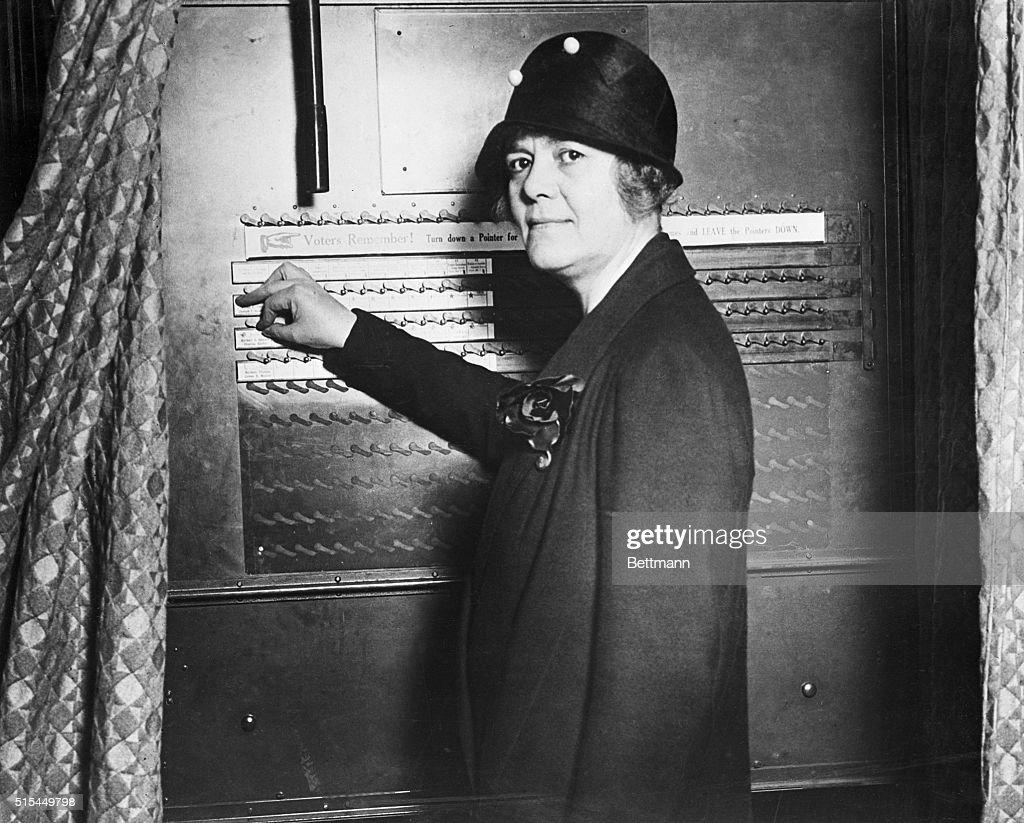 Ruth Pratt, Candidate for Congress, at Voting Machine : News Photo