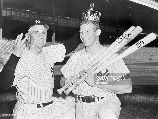 10/1/1956 New York NY Yankee Manager Casey Stengel proudly presents the apple of his eye his switchhitting majesty Mickey Mantle complete with crown...
