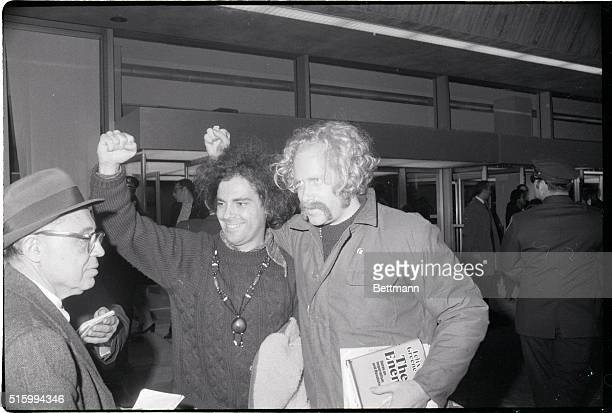 New York NY Yippies Jerry Rubin and Stewart Albert expelled from Britain for the public Good arrive at Kennedy Airport Nov 14th expressing thanks to...