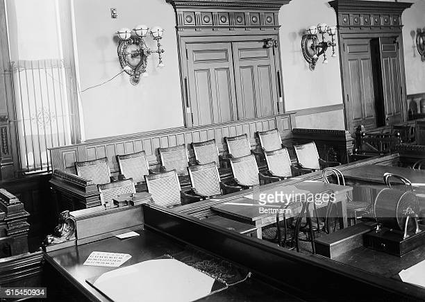 New York, NY-Photo shows the jury box in the criminal court at Centre St. Undated.