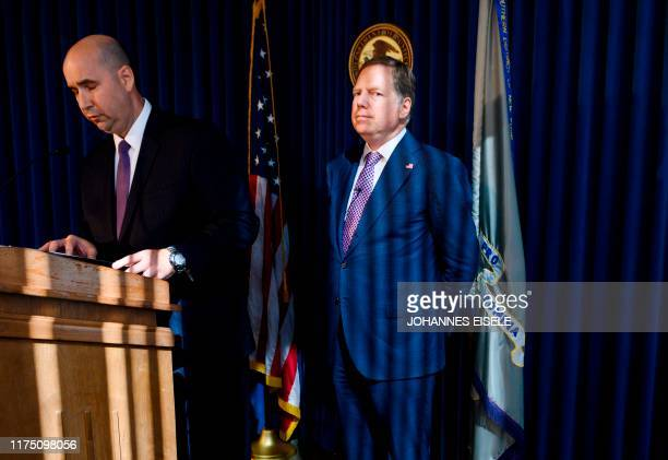 FBI New York Office Assistant DirectorinCharge William Sweeney with US Attorney for the Southern District of New York Geoffrey Berman speaks during a...