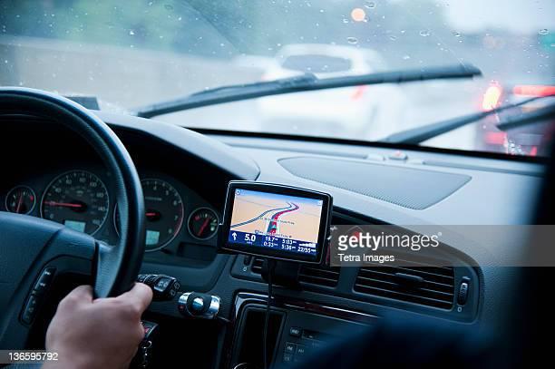 USA, New York, Old Westbury, Car interior with GPS