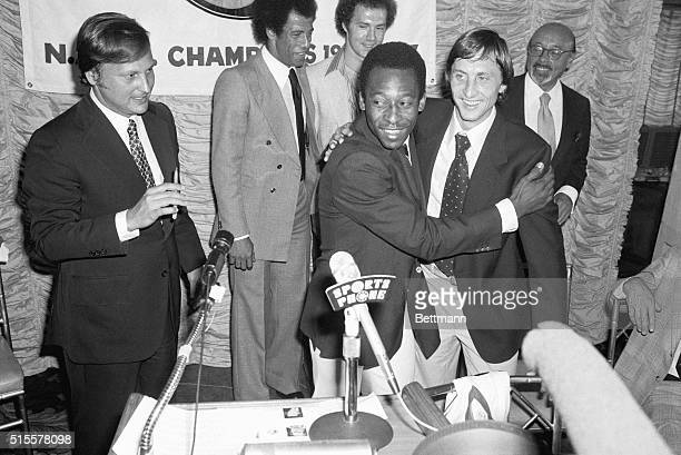New York: Pele , former New York Cosmos star embraces Johan Cruyff, Holland's 1974 World Cup team captain, at a press conference 8/3. Cruyff came out...