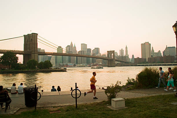 USA, New York, People In Park With Skyline From Brooklyn Wall Art