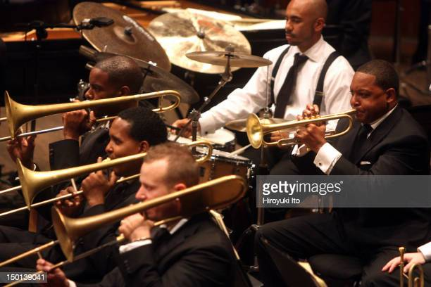 New York Philharmonic and Jazz at Lincoln Center Orchestra in Wynton Marsalis's 'Swing Symphony' at Avery Fisher Hall on Wednesday night September 22...
