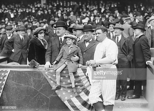 Photo shows Mayor Hylan his daughter Babe Ruth President of the Yankees and Ruppert with Jackie Coogan the kid movie star