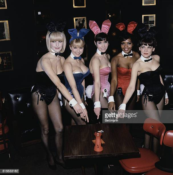 Playboy bunnies Jodi Marta Erika Cathy and Marily pose at the Playboy Club in New York during a press conference February 15th held by the club's...